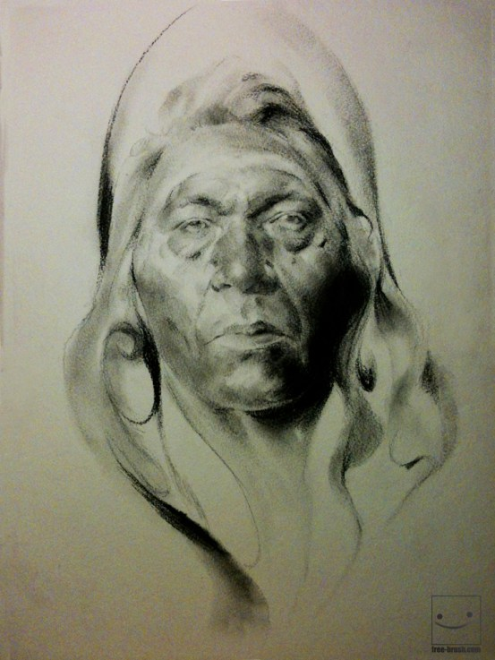 Indian Dream- Willow Charcoal (only) on Paper -