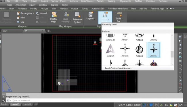 How to insert North Arrows in AutoCAD Layout Space