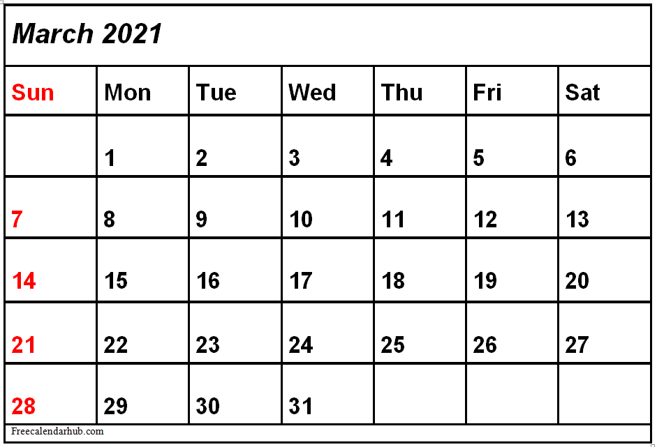 March 2021 Calendar Template Excel