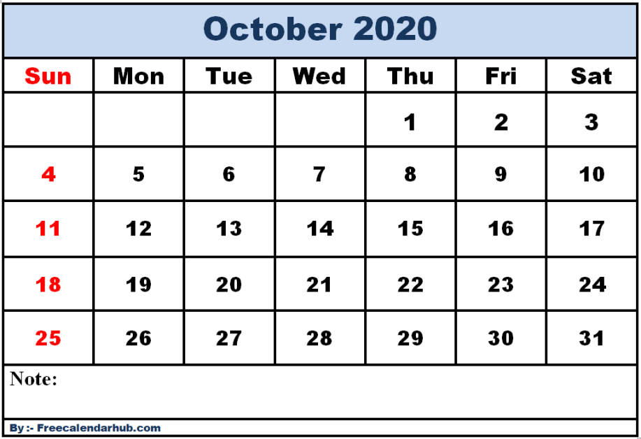 Printable-October-2020-Calendar-One-Page