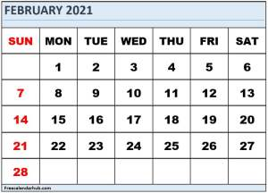 Free Monthly Calendar For February 2021