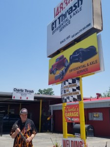 Charlie Thrash, standing outside his automotive shop that he owned since 1958, CT Thrash Differential & Axle Service.  The shop was located at 4838 West Ave, San Antonio, and was a landmark business for hot rod and specialty car owner for decades.    Until Judge Oscar Kazen allowed Charlie's estranged grand-niece, Tonya Barina, to close the business down, fire all the employees that relied upon Charlie to earn a living, remove all the equipment, and lock it up, keeping Charlie from his livelihood and his life-long enjoyment of cars.   If that's not cruel enough for you, the liquidation of Charlie's estimated $3 Million in assets is all being done to <em>pay the attorneys</em>.  Tonya Barina is kidding herself if she thinks she's going to get a whole lot more than the 5% of Charlie's estate the Texas Estates Code allows guardians to take from their Wards.   Nope, the lawyers at Cavaretta, Katona & Leighner (including Karen Andersen) are going to receive 85-90% of Charlie's estate - that's $2.85 MILLION - all for taking Charlie out of his life and from everything he enjoys about life, and sticking him in a guardianship controlled by a judge friendly to the needs of rapacious probate attorneys that demand wealthy clients to keep themselves well-fed and rolling in the Million$.