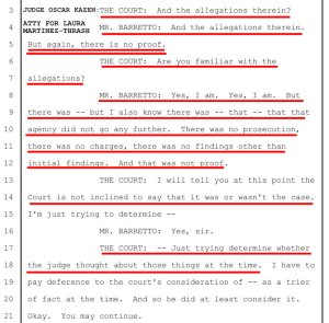 """Jan 29, 2019: In newly-elected Judge Oscar Kazen's first hearing in Charlie Thrash's guardianship case, Kazen conducts a series of prejudicial questions about previous judge, Tom Rickhoff's Order to place Charlie under guardianship, based on mere allegations against Charlie's common-law wife Laura Martinez-Thrash, by Thrash family members who stood to gain financially, if Charlie were put under a guardianship controlled by estranged Thrash family-member Tonya Barina. Note that attorney Buddy Barretto repeatedly attempts to inform Judge Kazen that there WERE NO PROVEN instances of financial abuse of Charlie by Laura - NONE. ZERO. But Kazen repeatedly & prejudicially insists that if the previous Judge (Tom Rickhoff) found a reason to put Charlie under guardianship, then he, Oscar Kazen, the successor judge in the case, couldn't possibly be in any position to 'second guess' another judge's previous orders. Oscar Kazen feels zero moral compunction or legal need to review anything about a previous judge's decision to remove 100% of a person's Civil, Constitutional, and Human Rights, removing their common-law spouse as their guardian, and putting the Ward under control of Kazen's financial & political backer, the Mayor's wife, Mary Werner. If further proof of Judge Kazen's prejudicial rulings against Laura Martinez-Thrash is needed, note that right after Kazen says """"You may continue,"""" Kazen interrupts Attorney Barretto and never allows Barretto to re-state Laura's innocence and the lack of any proven allegations against her."""