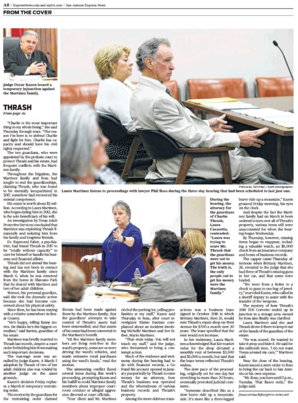 April 13, 2019 San Antonio Express-News continuing, page 8, print-version of John MacCormack's article in Charlie Thrash's case