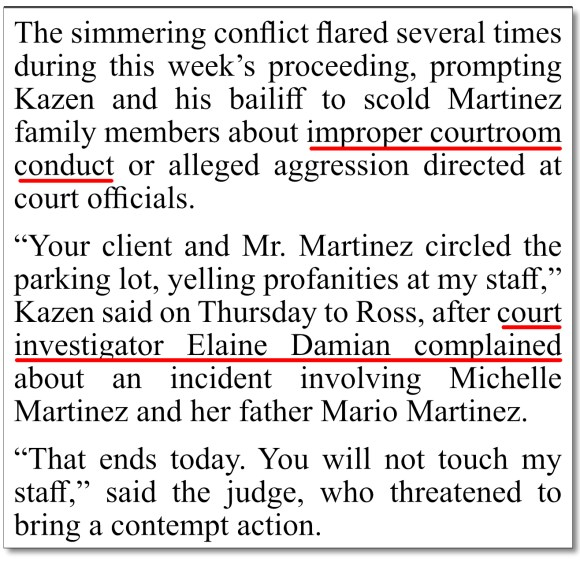 """April 12-13, 2019 San Antonio Express-News coverage of Charlie Thrash's guardianship trial, where Judge Kazen has, in our opinion, some gall to scold the Martinez family for """"improper courtroom conduct"""" given his own improper and counter-to-law rulings and orders he's issued in Charlie's case. For Elaine Damian's gross misconduct in Charlie's guardianship case, including misstatements of fact to the court, in our opinion Damian deserves the special place in Hell that is destined for her, once she meets her Maker, which we hope is in a very long time so she can live to an old age and experience for herself what she's been dishing out to Texas seniors for years."""