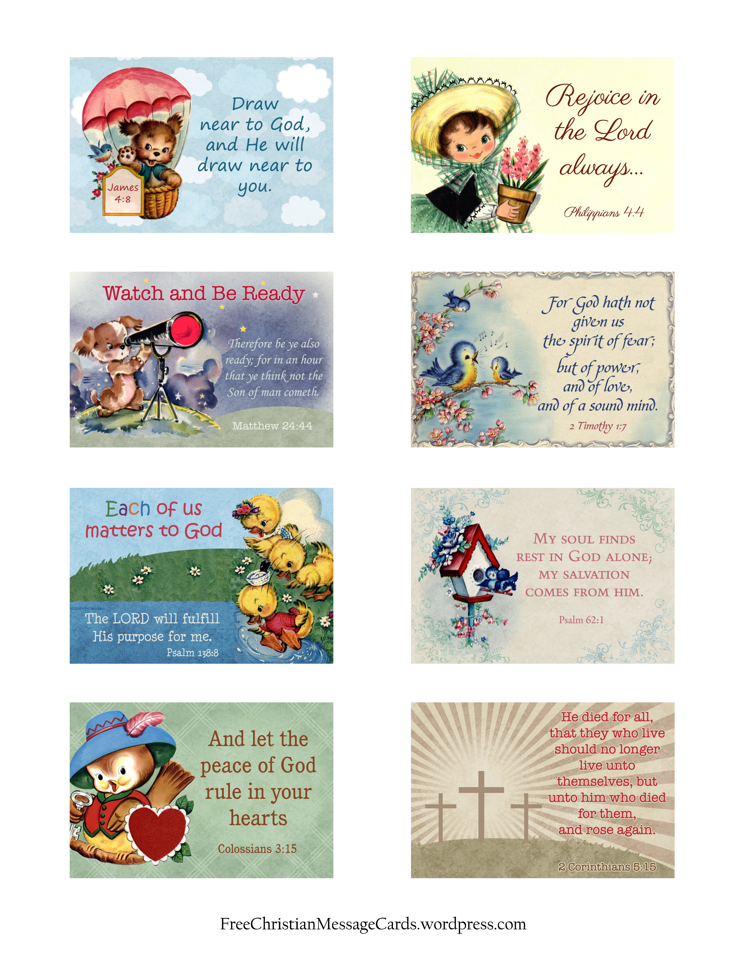 Free Printable Christian Message Cards Variety Sheet 07