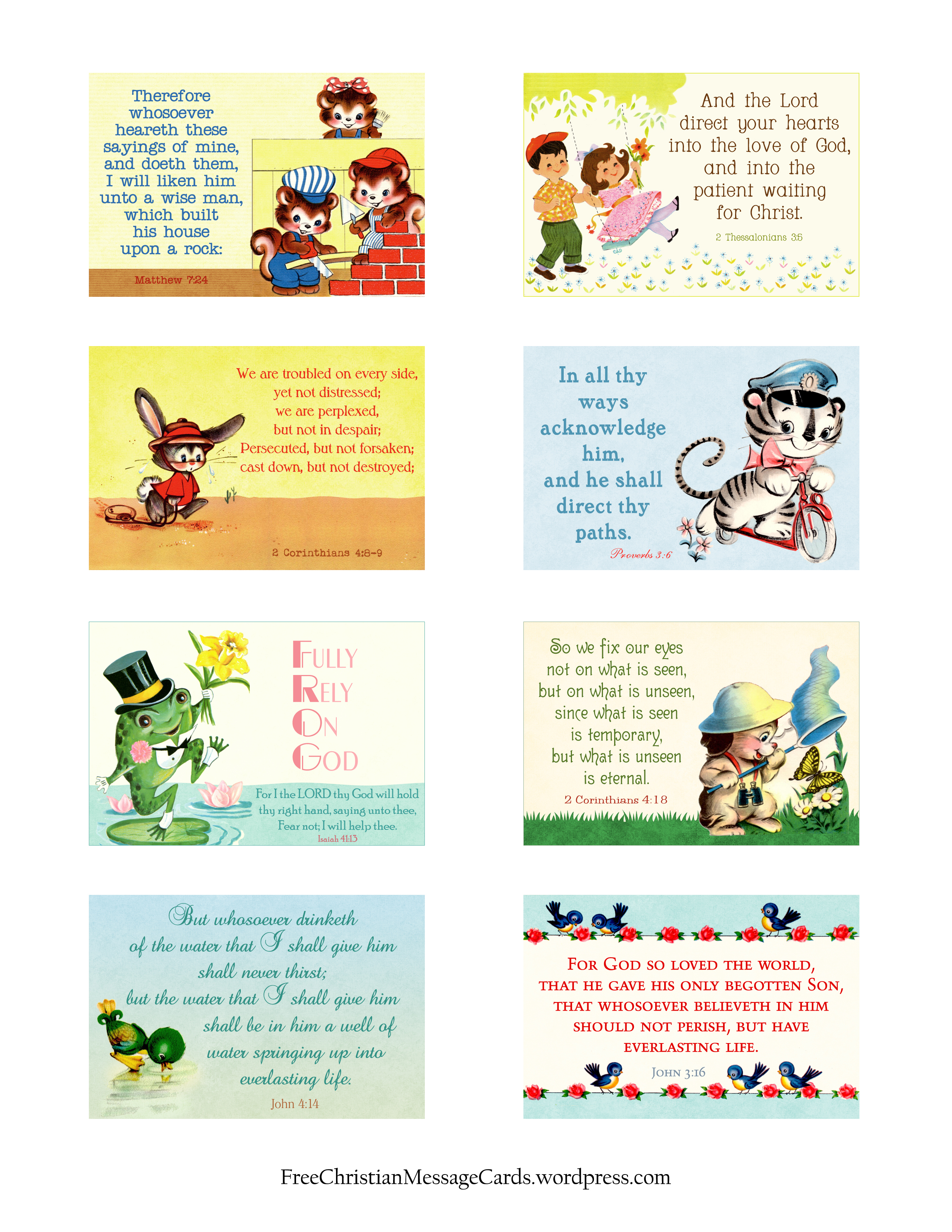 Free Printable Christian Message Cards Variety Sheet 10