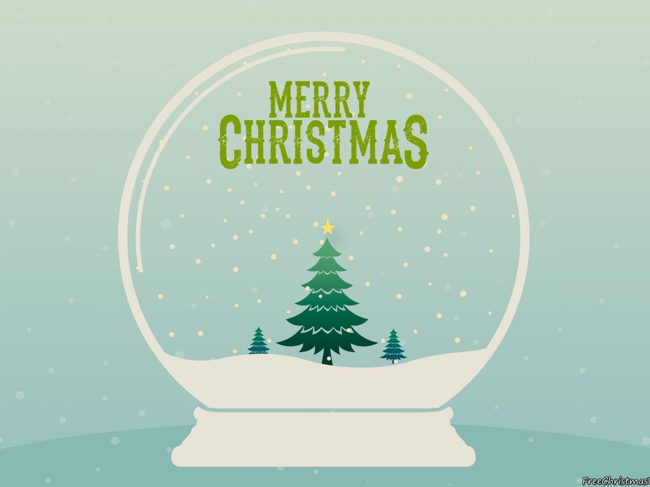 Merry Christmas Snow Globe Wallpaper