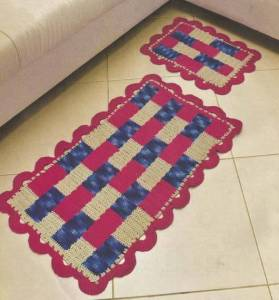 Gorgeous colorful crochet rug extended in the living room of your house