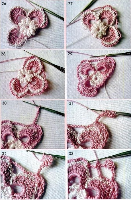 Step by step how to make an Irish crochet point flower for free