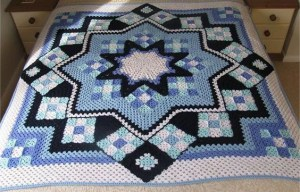 See how to do Patchwork Crochet Blanket – Free Pattern PDF – Blue Star