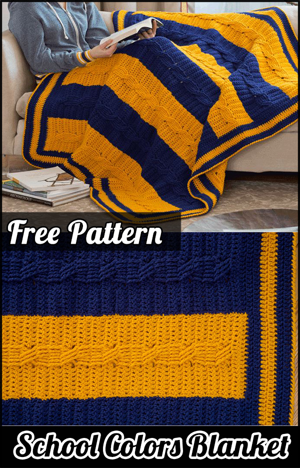 School Colors Blanket: See the step by step how to do | Crochet DIY