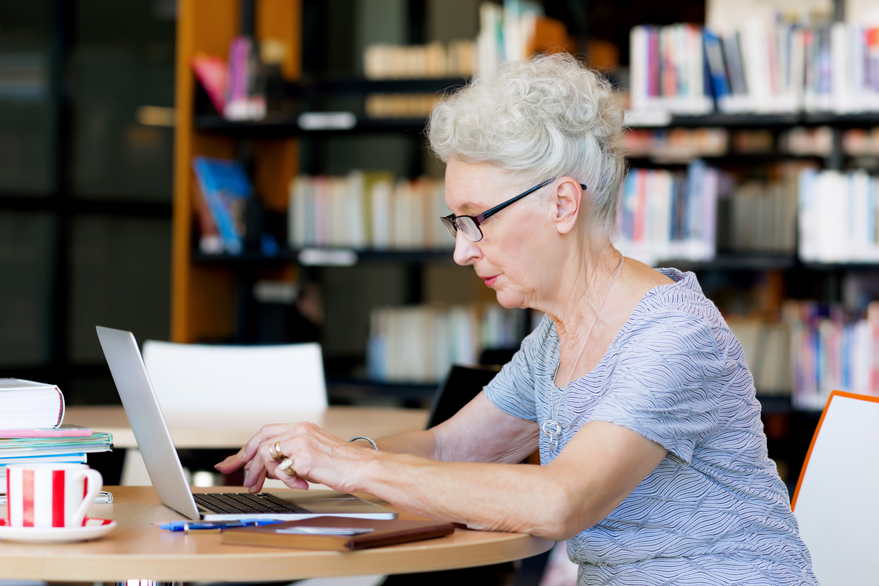 Elderly woman on the computer