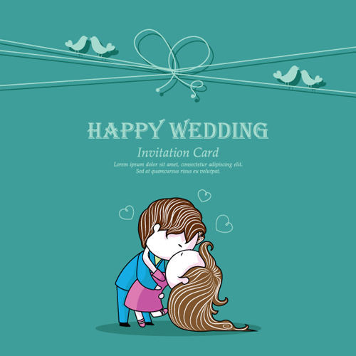Set Of Wedding Invitation Cards Elements Vector Graphics 05