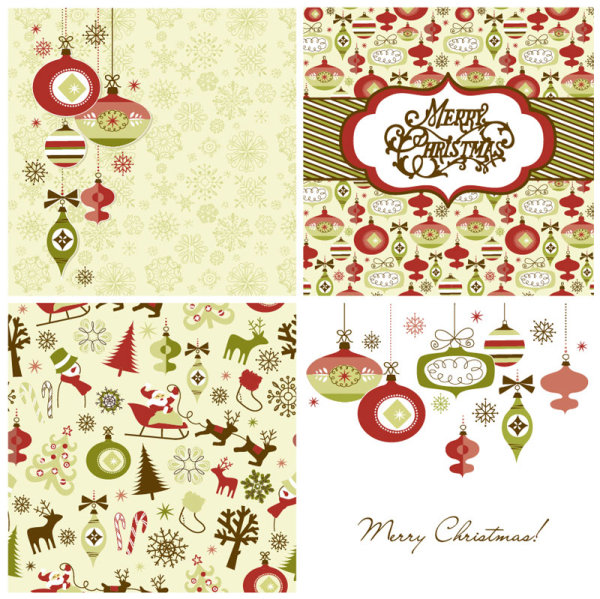 Vector Set Of Christmas Style Pattern Illustration 04 Free