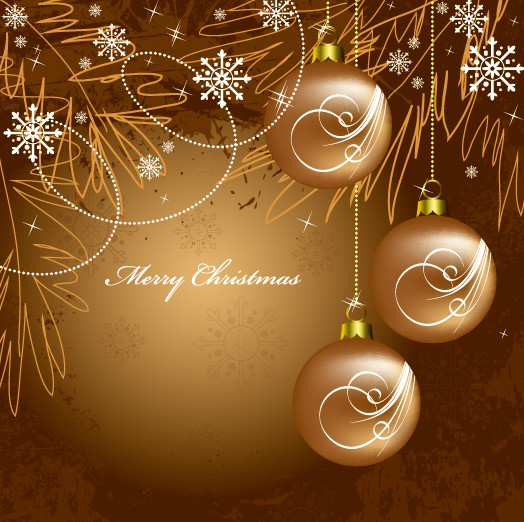 Golden Christmas Balls 2014 Background Vector 09 Free Download