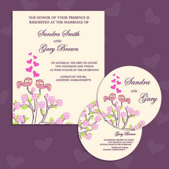 Set Of Wedding Invitation Cards Design Vector 02