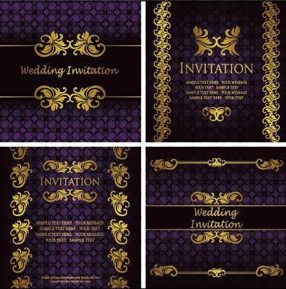 ornate gold ornament invitation card