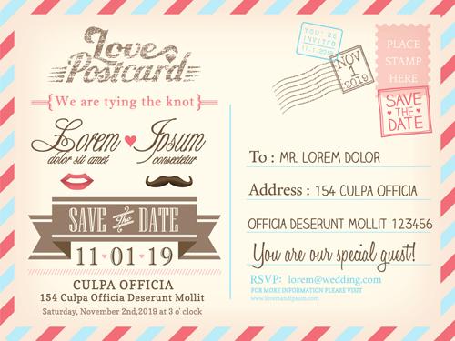 Wedding Invitations Postcard Design Graphic Vector 03 Free