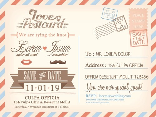 Wedding Invitations Postcard Design Graphic Vector 03
