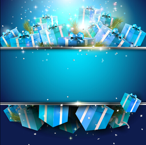 Christmas Blue Gift Box Background Vector Vector