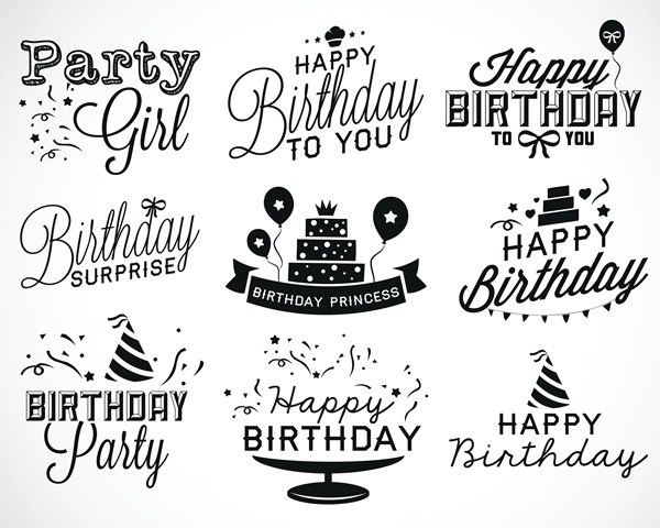 Happy Birthday Black Logos Vector Set Vector Birthday