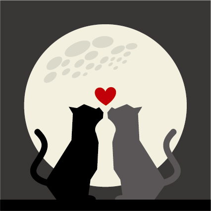 Download Cats love with moon vector 04 free download