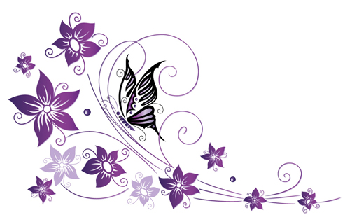 Ornament Floral With Butterflies Vectors Material 01