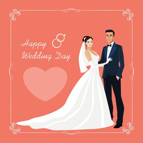 Beautiful Bride And Groom Vector Set 01 Free Download