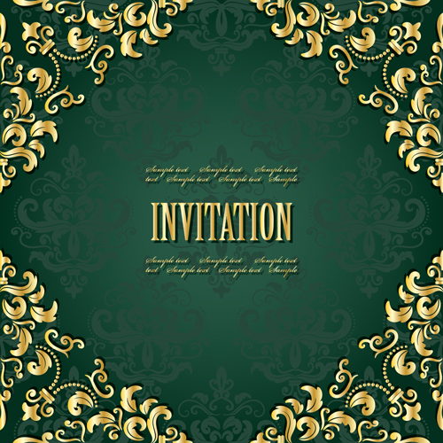 Golden Frame With Green Invitation Card Vector 04 Free
