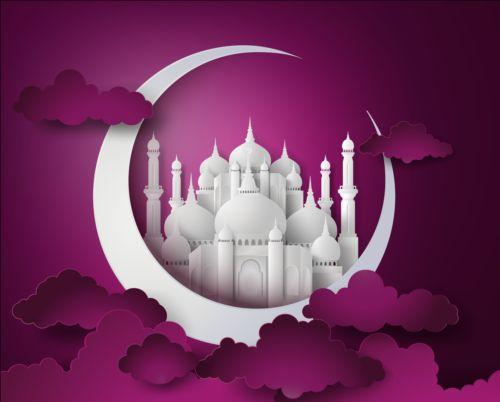 White Mosque With Purple Ramadan Kareem Background Vector