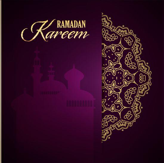 Ramadan Kareem Purple Backgrounds Vector Set 21 Free Download
