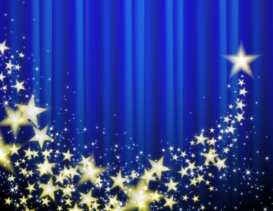 Blue curtain with shiny star background vector free download