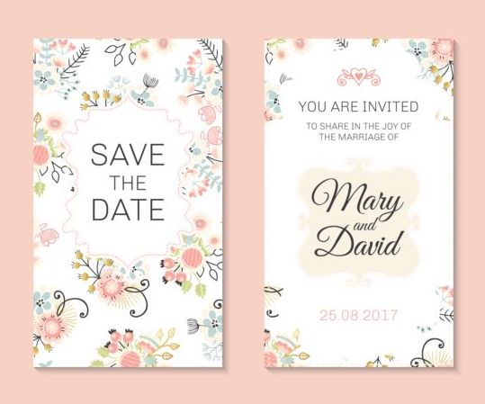 Wedding Invitation Card Template With Fl Vectors 03