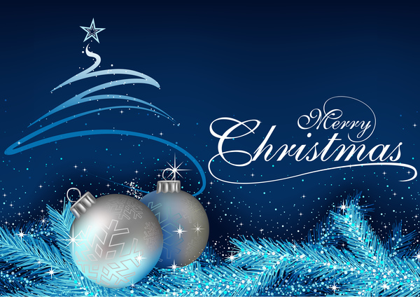 Blue Xmas Background 2017 Vector Free Download