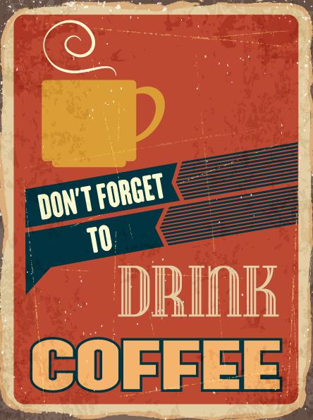 retro with vintage coffee poster