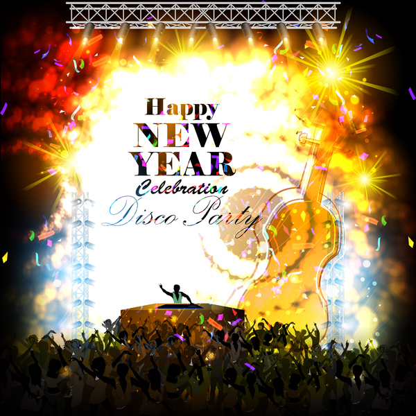 disco new year poster