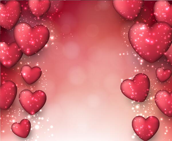 Red Heart With Red Blurs Background Vector 04 Free Download