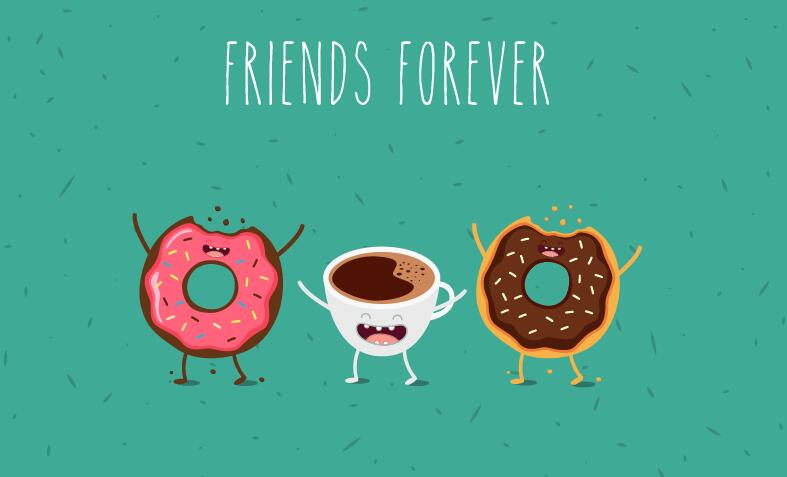 Coffee With Donut Cartoon Characters Vector Free Download