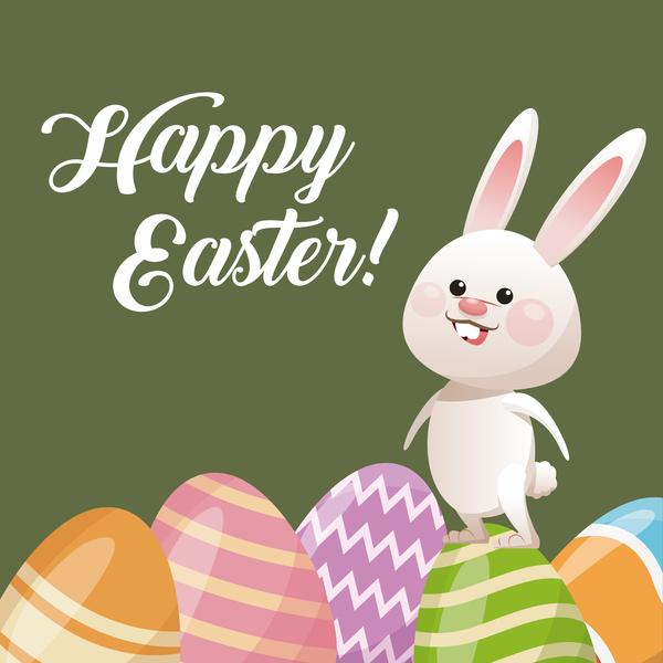 Happy Easter Card With Cartoon Bunny Vector 15 Vector Animal Free Download