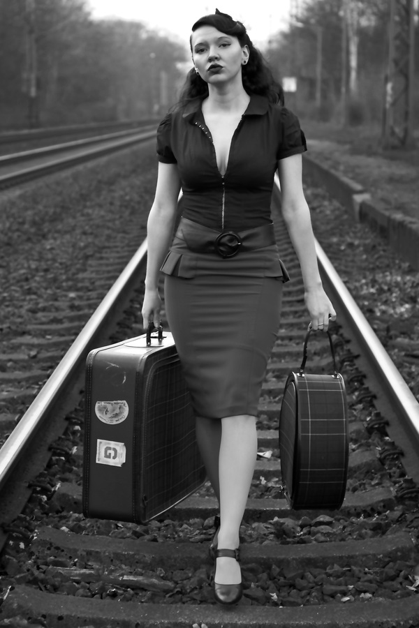 Retro Photos Walking On The Railway Woman Stock Photo