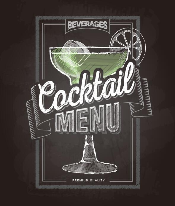 Cocktail Menu Cover With Chalkboard And Chalk Drawing Vector 21