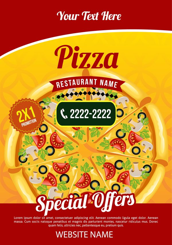 Pizza Poster Template Vector Vector Cover Vector Food