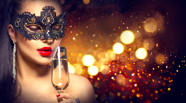 Woman With A Mask Drinking Champagne Stock Photo People