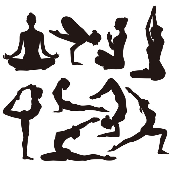 Yoga Pose Black Silhouette Vector 02 Vector People Free