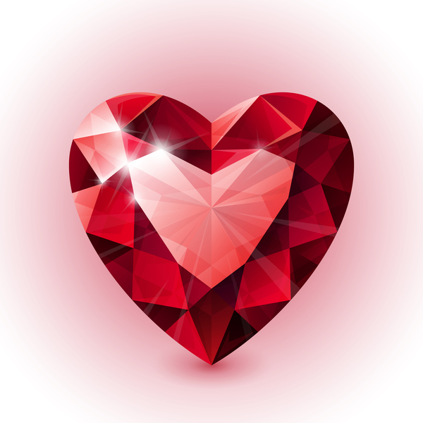 Red Heart Shape Diamond Vector Illustration 06 Free Download