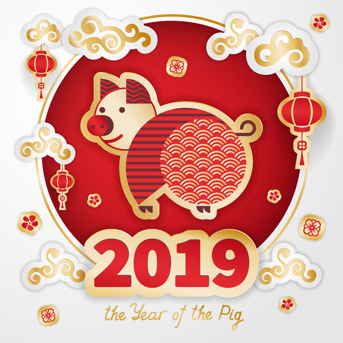 2019 the year of the pig design vector free download