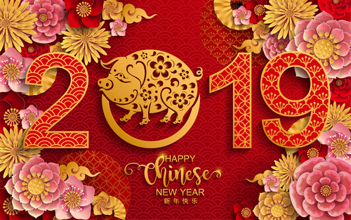 2019 New year with pig year design elements vector 02 free download