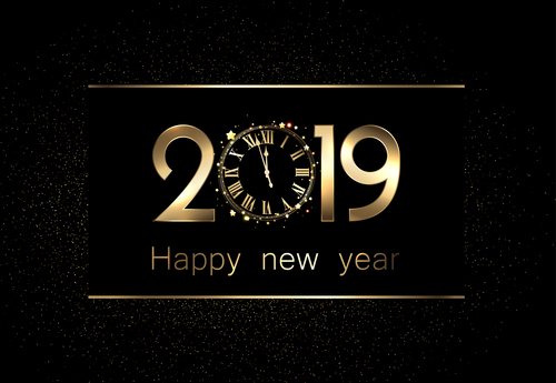 Clock with 2019 new year design vectors free download Clock with 2019 new year design vectors