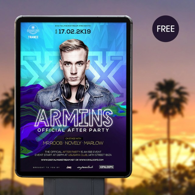 electronic dance music flyer template free design resources